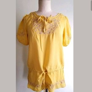 Forever 21 Yellow Peasant Drawstring Top sz Small.